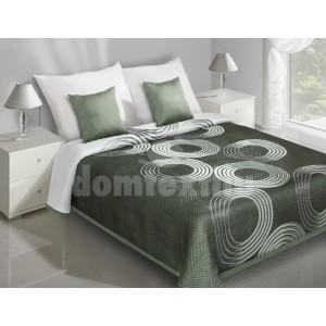 Zelené prehozy na posteľ s bielymi kruhmi