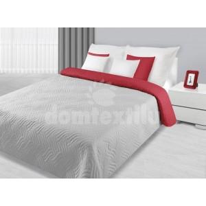 Sivo červené prehozy na posteľ