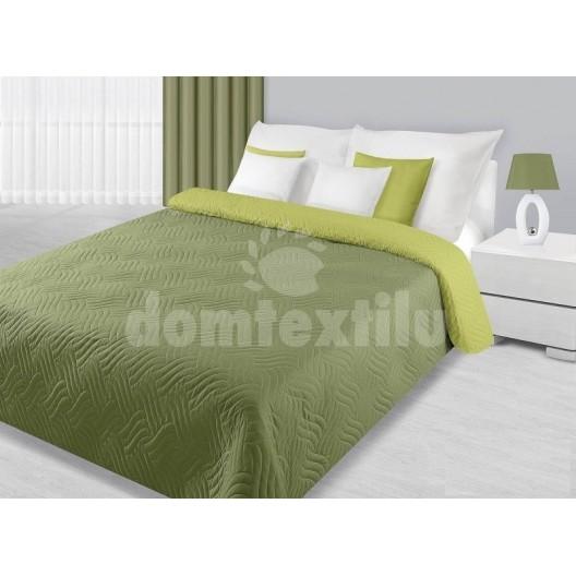 Obojstranný tmavo zelený prehoz na posteľ
