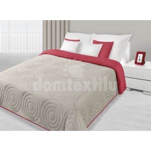 Béžovo červený obojstranný prehoz na postele