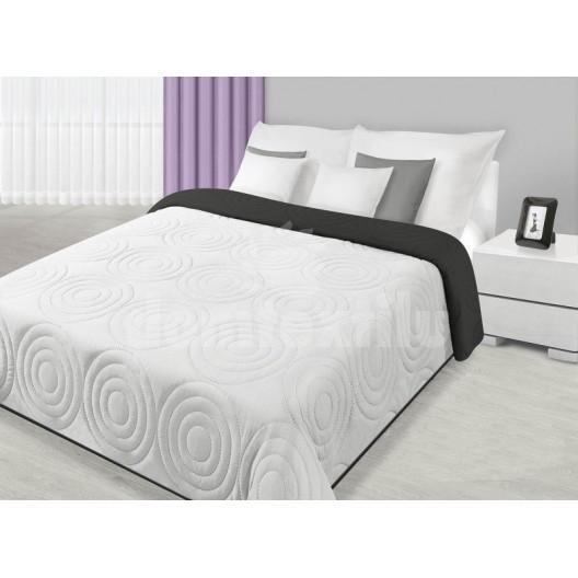 Bielo čierny obojstranný prehoz na posteľ s kruhovým vzorom