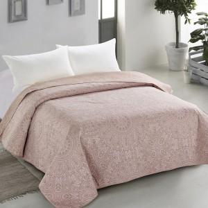Ružový prehoz s dekoratívnym prvkom vo forme jemného prešívania 220 x 240 cm SKLADOM