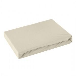 Béžová bavlnená napínacia plachta na posteľ s gumičkou