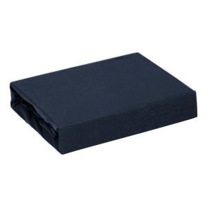 Tmavo modrá bavlnená napínacia plachta na posteľ