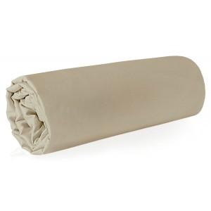 Kvalitná béžová napínacia plachta na posteľ z makosaténu