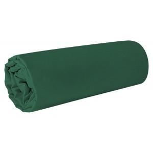 Tmavo zelená napínacia plachta na posteľ s gumičkou