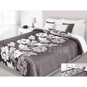 Hnedý prehoz na posteľ s bielymi kvetovými vzormi
