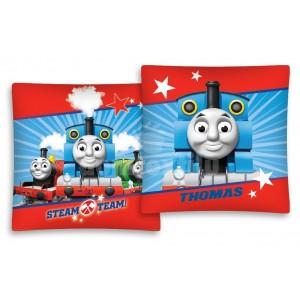 Modro červená obliečka  na vankúš s vláčikom Thomasom