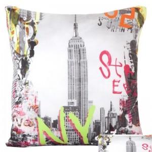 Obliečky na vankúše s motívom New York bielej farby