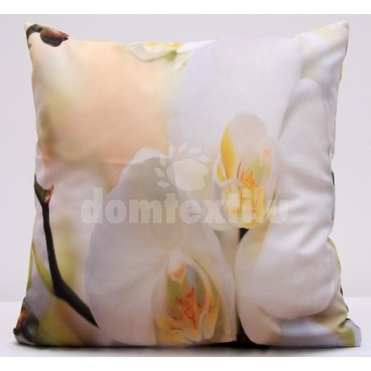 Obliečka na vankúš béžová s bielou orchideou