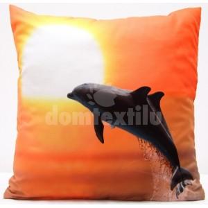 Oranžové obliečky na vankúše s delfínmi