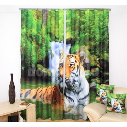 3D záves na okná zelenej farby s tigrom sediacim vo vode