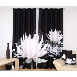 Krásny čierny záves 3D do obývačky s bielymi leknami