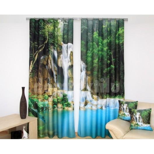Záves do obývačky s modrým jazierkom a vodopádom v  lese