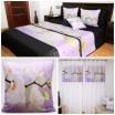 Dekoračný 3D fialový set prehozu, obliečky na vankúš a závesu s kvetmi bielej orchidey a kvapkami vody