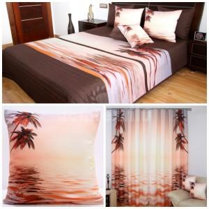 Dekoračný set do spálne prehoz, 2 obliečky na vankúše a záves v lososovej farbe s motívom mora a paliem