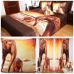 Hnedo-oranžový 3D set do izby s obrázkami 2 slonov