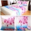 Modro-biely set 3D do spálne s kvetmi ružovej farby