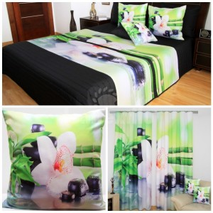 Čierno-zelený 3D set do spálne s bambusom a bielym kvetom