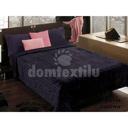 Čierna pruhovaná deka na posteľ a gauč