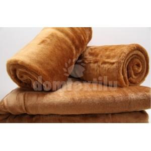 Svetlo hnedý set deky na gauč a poťahov na kreslá