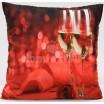 Červená dekoračná sada do izby s motívom šampanského vína a ruže