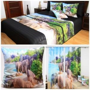 Dekoračný set do spálne s motívom slnečnej pláže a mora pri lese