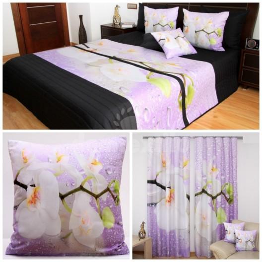Čierno-fialová dekoračná 3D sada do spálne s orchideou bielej farby