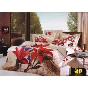 Biele posteľné obliečky s červenými a fialovými kvetmi