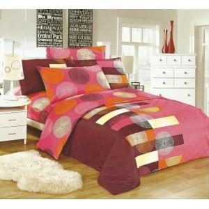 Ružová obliečka na posteľ s rôznymi farebnými motívmi