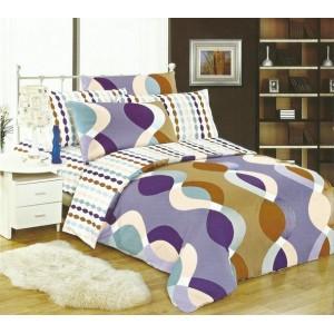 Bielo fialové obliečky na postele s vlnkami a kruhmi