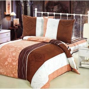 Hnedo béžovo biela pruhovaná obliečka na posteľ