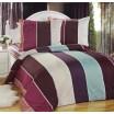 Pruhovaná obliečka na posteľ hnedo bielo tyrkysovej farby