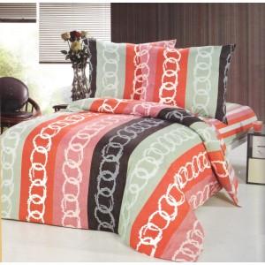 Farebné pruhované obliečky na postele s bielymi kruhmi