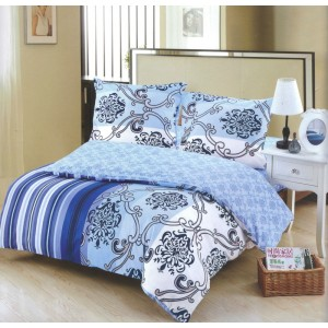 Modré obliečky na posteľ s abstraktnými vzormi