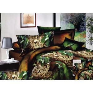 3D posteľná obliečka vzor leoparda v lese