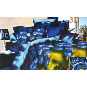 Zelené posteľné obliečky s modrými kvietkami