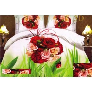 Biele posteľné obliečky s 3D kyticou ruží