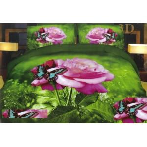 Obliečka na postele zelenej farby s 3D motívom ruže