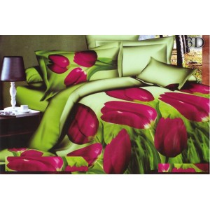 Zelená posteľná obliečka s 3D tulipánmi
