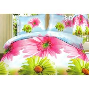 Obliečky na posteľ modré s farebnými sedmokráskami