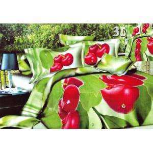 Zelené obliečky na postele červený kvet