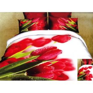 Biela obliečka na posteľ červený tulipán