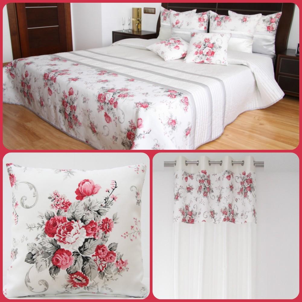 DomTextilu Dekoračný biely set do spálne v štýle vintage s kyticou červených kvetov 4528