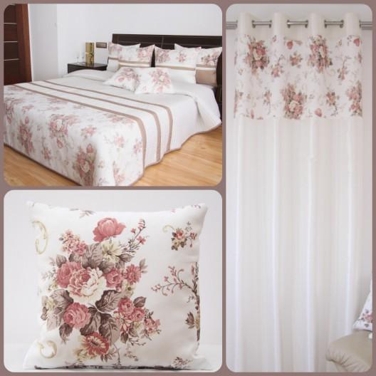 Dekoračné sety do izby bielo-hnedej farby s motívom vintage ružových kvetov
