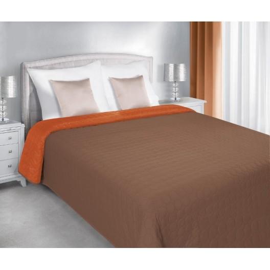 Prešívané obojstranné prehozy na postele hnedo oranžovej farby