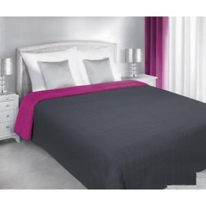 Obojstranný  sivo fialový prehoz na posteľ