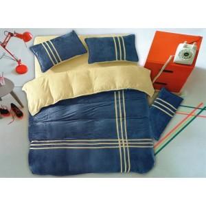 Tmavo modré posteľné obliečky s béžovými pásmi