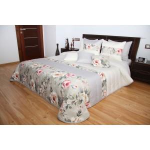 Smotanový prehoz na posteľ s motívom bielych a ružových ruží