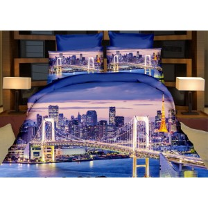 Modrá 3D posteľná obliečka San Frnacisco